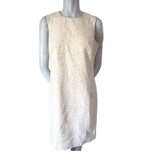 Peter Nygard Offwhite and Gold Textured Dress 8
